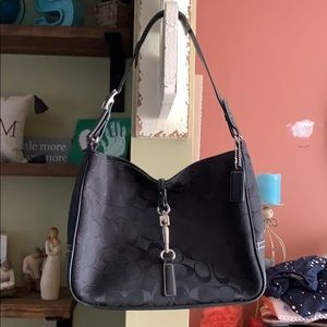 Authentic Black Leather and Canvas Coach Bag